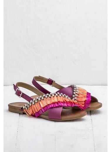 Elle Püsküllü Sandalet Fuşya